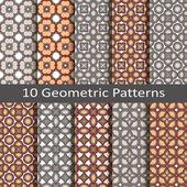 Set of ten geometric patterns — Stock Vector