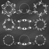 Set of decorative floral design elements — Wektor stockowy