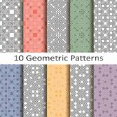 Set of ten geometric patterns — Stock vektor