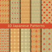 Set of ten japanese patterns — Stock vektor
