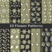 Set of ten flower patterns — Vetor de Stock