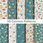 Set of ten cosmos patterns — Stock Vector