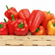 Red and Yellow Bell Peppers in basket — Stock Photo #52770237