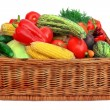 Fresh Vegetables Mix in the wicker box — Stock Photo #52771679