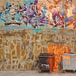 Two Empty Trash  Container and Graffiti Wall — Stock Photo #56833911