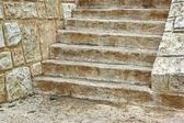 Old Wooden Staircase and stone wall — ストック写真