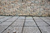Home Exterior With Stone Wall and Floor — Stockfoto