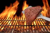 Flame Broiled Steak on the BBQ Grill — Stock Photo