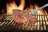 Roasted Pork Ribs on the Flaming Grill — Stock Photo