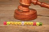 Sign INVESTIGATION and Wooden Gavel — Stock Photo