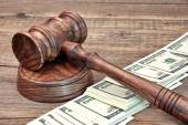 USA Dollar banknote and Wooden Judges Gavel — Stock Photo