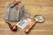 Baker Street Signboard, Sherlock Holmes Cap, Smoking Pipe and Ma — Stock Photo