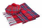 Traditional Scottish Red Tartan Bonnet and Scarf — Stock Photo