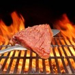 Raw Beefsteak on the Blade Over a Hot BBQ Grill — Stock Photo #63284197