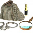 Deerstalker Hat, Magnifier, Handcuffs and Spyglass — Stock Photo #63860817