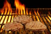 Beefsteaks on the Flaming Grill — Stock Photo