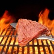 Raw Beefsteak on the Blade Over a Hot BBQ Grill — Stock Photo #65197705