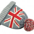 Knitted Wool Hat with Union Jack Flag Isolated On White — Stock Photo #65847603