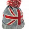 Knitted Wool Hat with Union Jack Flag Isolated On White — Stock Photo #65847631