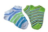 Two Pairs of Different Sport Striped Ladies Socks — Stock Photo
