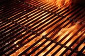 Empty Barbecue Grill With Flames and Copy Space — Stock Photo