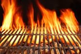 Flame Fire Empty Hot Barbecue Charcoal Grill With Glowing Coals — Stock Photo
