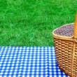 Picnic Basket On The Table With Blue White Tablecloth — Stock Photo #71972657