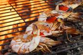 Skewered Big Shrimps On The Hot BBQ Grill — Stock Photo