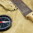 Modern Magnetic Compass And Old Knife On The Backpack — Stock Photo #72797999