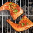 Two BBQ Roast Chicken Quarters On The Hot Charcoal Grill — Stock Photo #72798107