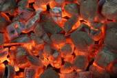 Glowing Charcoal Briquettes Background Texture — Stock Photo