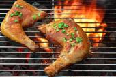 Barbecue Roast Chicken Quarters On The Hot Flaming  Grill — Stock Photo