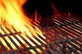 Hot Cast Iron BBQ Grill And Blazing Coals Closeup Background — Stock Photo