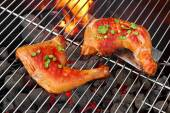 Two Tasty Chicken Quarters On Hot BBQ Grill — Stock Photo