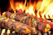 Barbecue Beef Kababs On The Hot Grill Close-up — Stock Photo