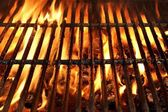 Flaming BBQ Charcoal Grill Background — Stock Photo