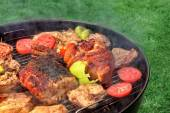 Mixed Meat And Vegetables On The Hot BBQ Grill — Stock Photo