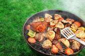 BBQ Assorted Meat And Vegetables On The Hot Flaming Grill — Stock Photo