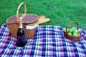 Picnic Hamper Basket, Champagne Wine Bottle, Fruits on The Blank — Stock Photo