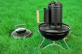 BBQ Kettle Grill With Charcoal Briquettes Starter On The Lawn — Stock Photo