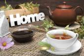 Home Tea Time Scene  With Lime Tree Blossom. Rustic Style — Stock Photo