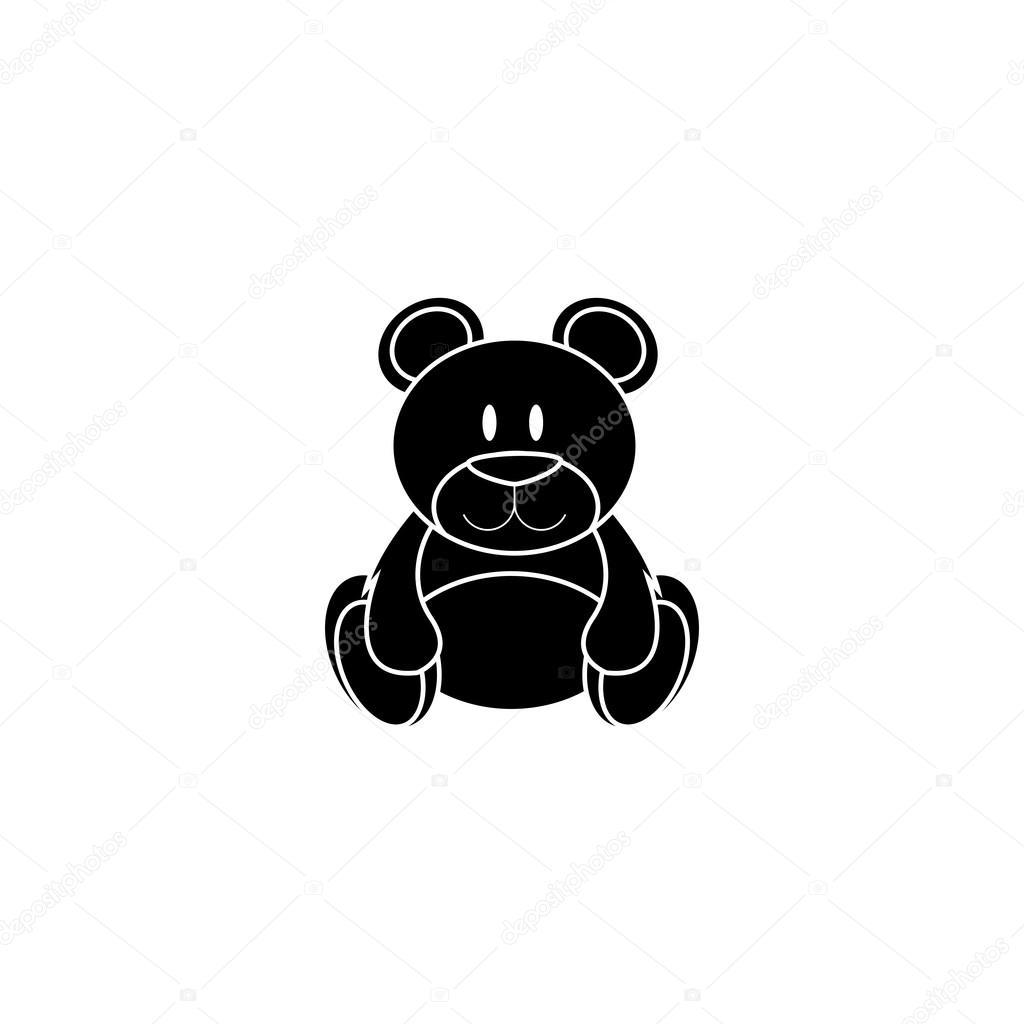 在白色背景上的抽象可爱剪影熊