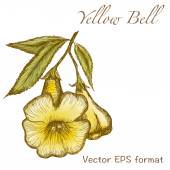 Yellow bell greeting card with flowers — Stock Vector