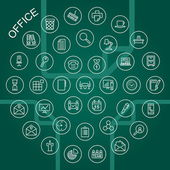 Иконки векторные линии - офис — Cтоковый вектор