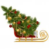 Vector Sled with Christmas Tree — Stock Vector