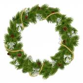Vector Christmas Wreath with Decorations — Wektor stockowy