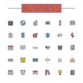 Vector Colored Business Line Icons — Stock Vector