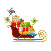 Vector Sled with Gifts — Stock Vector