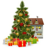Vector Christmas Tree with House — Stockvektor