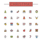 Vector Colored Christmas Line Icons — Stock Vector